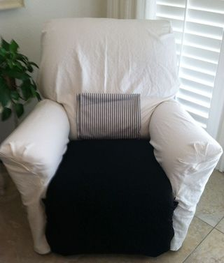Black and white recliner after.  It still needs the ticking pillow to be made.