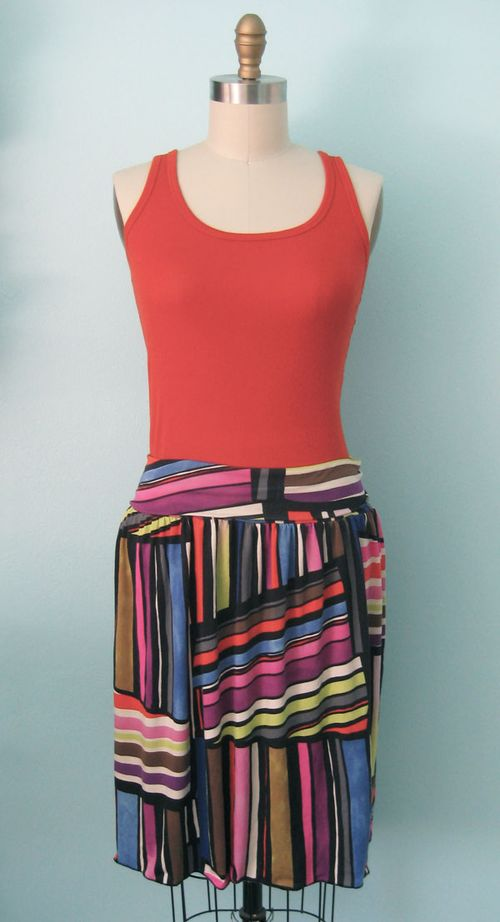 Skirt shown with waistband folded down.